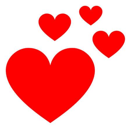 Love hearts v3 raster illustration. A flat illustration iconic design of love hearts v3 on a white background. 免版税图像 - 154327227