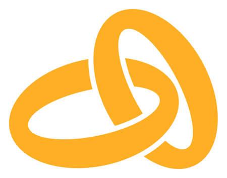 Gold rings raster illustration. A flat illustration iconic design of gold rings on a white background. 免版税图像 - 154327228