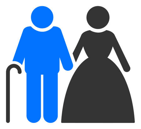 Grandparents couple raster illustration. A flat illustration iconic design of grandparents couple on a white background. 免版税图像