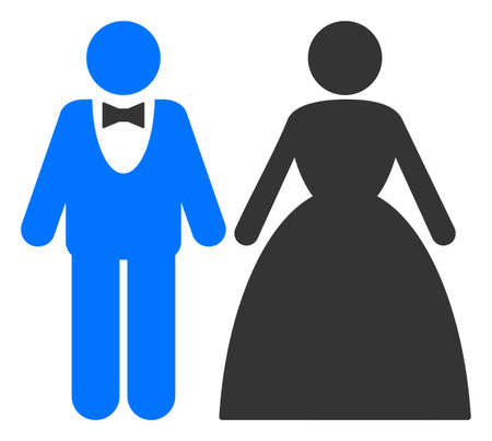 Groom with bride raster illustration. A flat illustration iconic design of groom with bride on a white background. 免版税图像