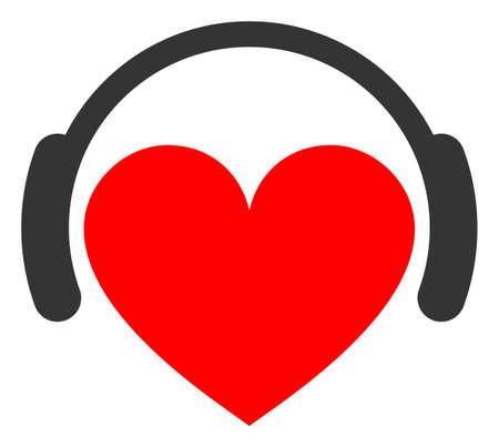 Love heart headphones raster illustration. A flat illustration iconic design of love heart headphones on a white background. 免版税图像 - 154327238