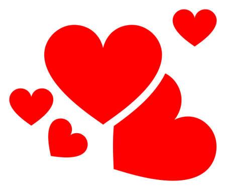 Love hearts v2 raster illustration. A flat illustration iconic design of love hearts v2 on a white background. 免版税图像 - 154327239