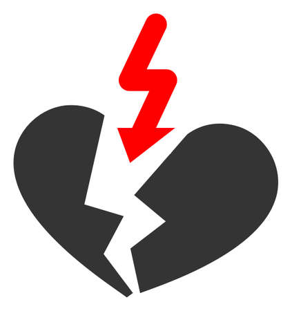 Breakup heart raster illustration. A flat illustration iconic design of breakup heart on a white background.