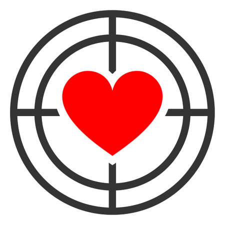Love target raster illustration. A flat illustration iconic design of love target on a white background.