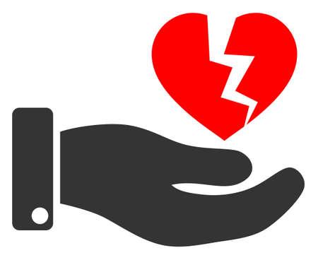 Hand offer broken heart raster illustration. A flat illustration iconic design of hand offer broken heart on a white background. 免版税图像 - 154327243