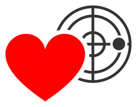 Love heart radar raster illustration. A flat illustration iconic design of love heart radar on a white background.