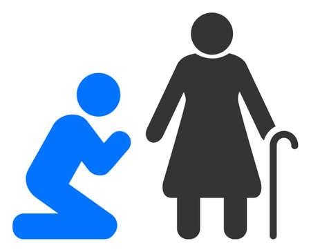 Man pray for grandmother raster illustration. A flat illustration iconic design of man pray for grandmother on a white background. 免版税图像 - 154327246