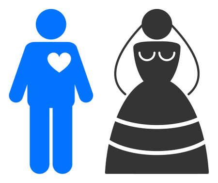 Marriage persons raster illustration. A flat illustration iconic design of marriage persons on a white background. 免版税图像