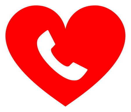 Phone heart raster illustration. A flat illustration iconic design of phone heart on a white background. 免版税图像