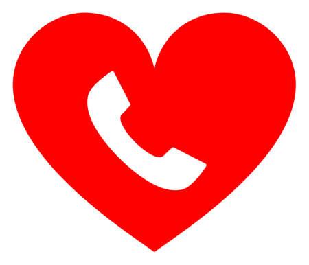 Phone heart raster illustration. A flat illustration iconic design of phone heart on a white background. 免版税图像 - 154327255