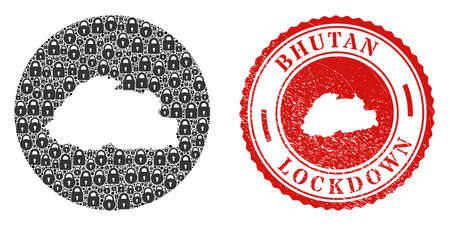 Vector mosaic Bhutan map of locks and grunge LOCKDOWN seal. Mosaic geographic Bhutan map created as stencil from round shape with black locks. Vecteurs