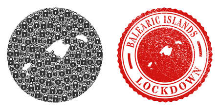 Vector mosaic Balearic Islands map of locks and grunge LOCKDOWN seal stamp. Mosaic geographic Balearic Islands map designed as carved shape from circle with black locks.