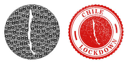Vector mosaic Chile map of locks and grunge LOCKDOWN stamp. Mosaic geographic Chile map constructed as stencil from circle with black locks. Red watermark with grunge rubber texture and LOCKDOWN text.
