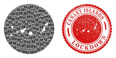 Vector mosaic Canary Islands map of locks and grunge LOCKDOWN seal. Mosaic geographic Canary Islands map designed as carved shape from circle with black locks. Ilustracje wektorowe
