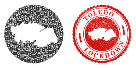 Vector mosaic Toledo Province map of locks and grunge LOCKDOWN stamp. Mosaic geographic Toledo Province map designed as carved shape from round shape with black locks.