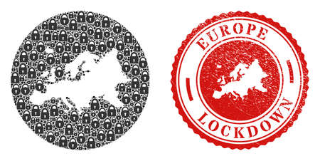 Vector mosaic Europe map of locks and grunge LOCKDOWN seal. Mosaic geographic Europe map designed as stencil from round shape with black locks. Red stamp with grunge rubber texture and LOCKDOWN text.
