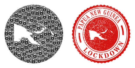 Vector mosaic Papua New Guinea map of locks and grunge LOCKDOWN stamp. Mosaic geographic Papua New Guinea map constructed as stencil from round shape with black locks.