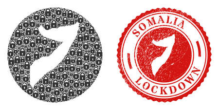 Vector collage Somalia map of locks and grunge LOCKDOWN seal stamp. Mosaic geographic Somalia map constructed as carved shape from round shape with black locks. Illustration