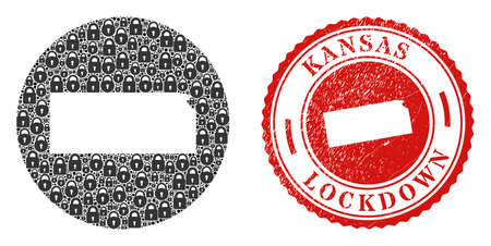 Vector mosaic Kansas State map of locks and grunge LOCKDOWN stamp. Mosaic geographic Kansas State map created as carved shape from round shape with black locks.