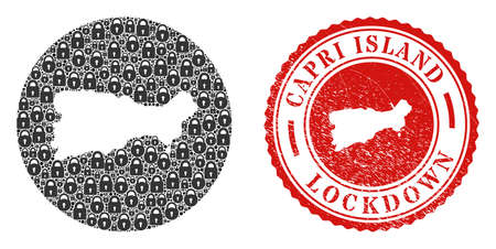 Vector mosaic Capri Island map of locks and grunge LOCKDOWN seal stamp. Mosaic geographic Capri Island map designed as carved shape from round shape with black locks.