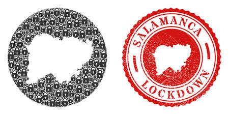 Vector mosaic Salamanca Province map of locks and grunge LOCKDOWN stamp. Mosaic geographic Salamanca Province map created as hole from round shape with black locks.
