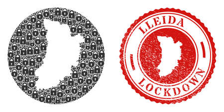 Vector mosaic Lleida Province map of locks and grunge LOCKDOWN stamp. Mosaic geographic Lleida Province map designed as carved shape from circle with black locks.