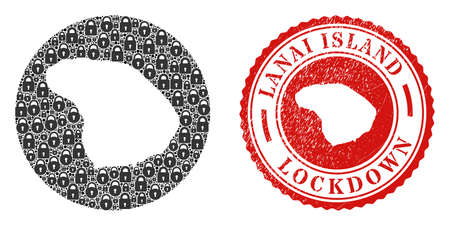 Vector mosaic Lanai Island map of locks and grunge LOCKDOWN seal stamp. Mosaic geographic Lanai Island map created as carved shape from round shape with black locks.