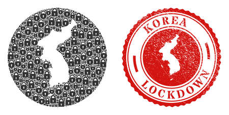 Vector mosaic Korea map of locks and grunge LOCKDOWN stamp. Mosaic geographic Korea map created as carved shape from round shape with black locks. Vecteurs