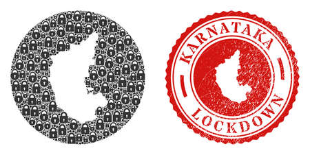 Vector mosaic Karnataka State map of locks and grunge LOCKDOWN seal stamp. Mosaic geographic Karnataka State map constructed as subtraction from round shape with black locks.