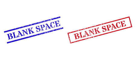 Grunge BLANK SPACE rubber stamps in red and blue colors. Stamps have draft texture. Vector rubber imitations with BLANK SPACE text inside rectangle frame, or parallel lines.