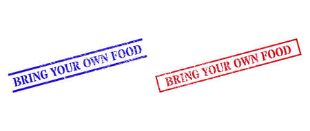 Grunge BRING YOUR OWN FOOD stamp seals in red and blue colors. Stamps have rubber style. Vector rubber imitations with BRING YOUR OWN FOOD tag inside rectangle frame, or parallel lines.