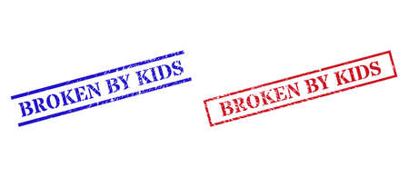 Grunge BROKEN BY KIDS seal stamps in red and blue colors. Stamps have rubber style. Vector rubber imitations with BROKEN BY KIDS caption inside rectangle frame, or parallel lines.