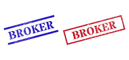 Grunge BROKER rubber stamps in red and blue colors. Stamps have rubber style. Vector rubber imitations with BROKER tag inside rectangle frame, or parallel lines. Design style uses dust surface.