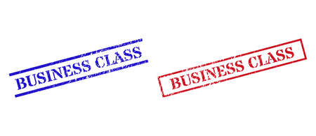 Grunge BUSINESS CLASS seal stamps in red and blue colors. Stamps have distress style. Vector rubber imitations with BUSINESS CLASS badge inside rectangle frame, or parallel lines.