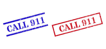 Grunge CALL 911 rubber stamps in red and blue colors. Stamps have distress style. Vector rubber imitations with CALL 911 text inside rectangle frame, or parallel lines.