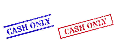 Grunge CASH ONLY rubber stamps in red and blue colors. Stamps have rubber surface. Vector rubber imitations with CASH ONLY badge inside rectangle frame, or parallel lines.