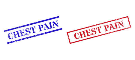 Grunge CHEST PAIN rubber stamps in red and blue colors. Stamps have rubber surface. Vector rubber imitations with CHEST PAIN phrase inside rectangle frame, or parallel lines.