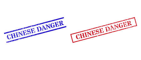 Grunge CHINESE DANGER stamp seals in red and blue colors. Seals have rubber style. Vector rubber imitations with CHINESE DANGER label inside rectangle frame, or parallel lines. Ilustracja