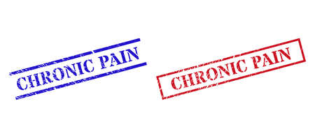 Grunge CHRONIC PAIN rubber stamps in red and blue colors. Seals have rubber surface. Vector rubber imitations with CHRONIC PAIN phrase inside rectangle frame, or parallel lines.