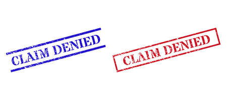 Grunge CLAIM DENIED rubber stamps in red and blue colors. Seals have distress style. Vector rubber imitations with CLAIM DENIED phrase inside rectangle frame, or parallel lines.