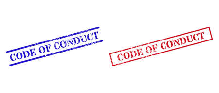 Grunge CODE OF CONDUCT stamp seals in red and blue colors. Seals have rubber style. Vector rubber imitations with CODE OF CONDUCT caption inside rectangle frame, or parallel lines.