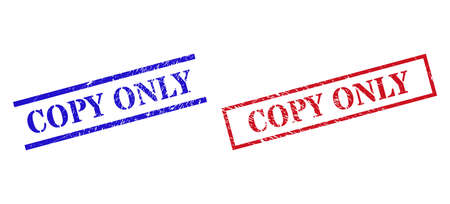 Grunge COPY ONLY stamp seals in red and blue colors. Seals have rubber surface. Vector rubber imitations with COPY ONLY badge inside rectangle frame, or parallel lines.
