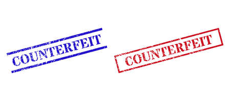 Grunge COUNTERFEIT rubber stamps in red and blue colors. Stamps have rubber texture. Vector rubber imitations with COUNTERFEIT caption inside rectangle frame, or parallel lines.