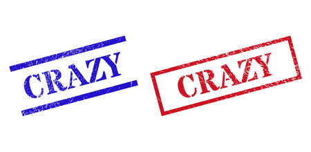 Grunge CRAZY rubber stamps in red and blue colors. Stamps have distress surface. Vector rubber imitations with CRAZY label inside rectangle frame, or parallel lines.
