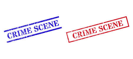 Grunge CRIME SCENE stamp seals in red and blue colors. Seals have rubber texture. Vector rubber imitations with CRIME SCENE label inside rectangle frame, or parallel lines.