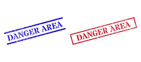 Grunge DANGER AREA stamp seals in red and blue colors. Seals have rubber style. Vector rubber imitations with DANGER AREA tag inside rectangle frame, or parallel lines.