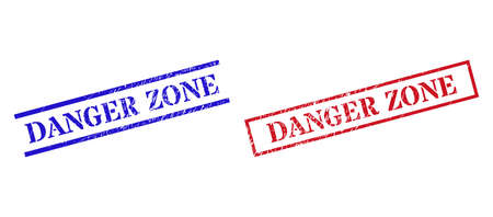 Grunge DANGER ZONE seal stamps in red and blue colors. Stamps have rubber style. Vector rubber imitations with DANGER ZONE caption inside rectangle frame, or parallel lines.