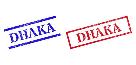 Grunge DHAKA rubber stamps in red and blue colors. Stamps have rubber style. Vector rubber imitations with DHAKA badge inside rectangle frame, or parallel lines. Design style uses corroded surface. Ilustración de vector