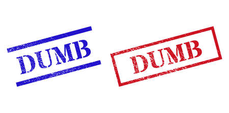 Grunge DUMB rubber stamps in red and blue colors. Stamps have rubber surface. Vector rubber imitations with DUMB tag inside rectangle frame, or parallel lines. Design style imitates corroded surface.
