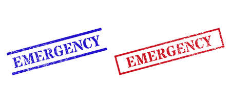 Grunge EMERGENCY seal stamps in red and blue colors. Stamps have rubber texture. Vector rubber imitations with EMERGENCY phrase inside rectangle frame, or parallel lines.